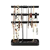 JackCubeDesign MK413A - 3 Tier Leather Jewelry Stand(Black)