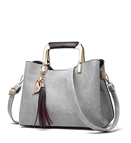 CLOTHES- Borsa delle signore Bagagli di cuoio genuino della borsa di cuoio selvaggia della nuova versione coreana di versione della donna della spalla Messenger della spalla ( Colore : Nero ) Grigio
