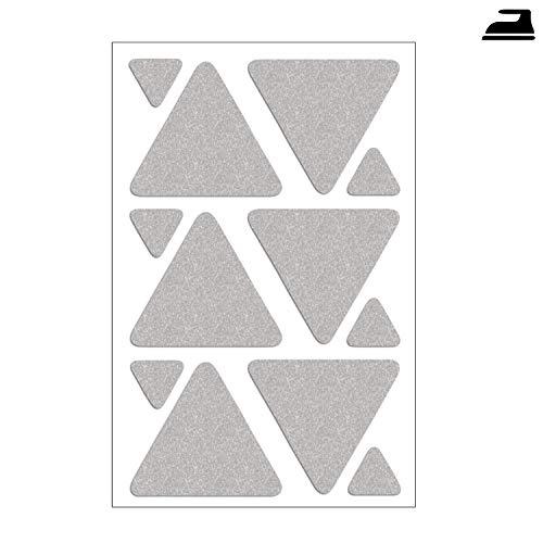 Folius 12- teiliges Reflektor-Set, Dreiecke zum Aufbügeln, reflektierende Dreiecke zum Bügeln, Reflektoren für Kleidung -