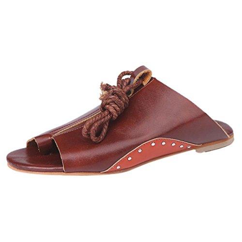 Fuibo Elegant Sandalette | Frauen Flachem Boden Römischen Sandalen Offene Knöchel Flache Riemen Plattform Keile Schuhe (41, Braun) (Elastischen Knöchel-riemen)