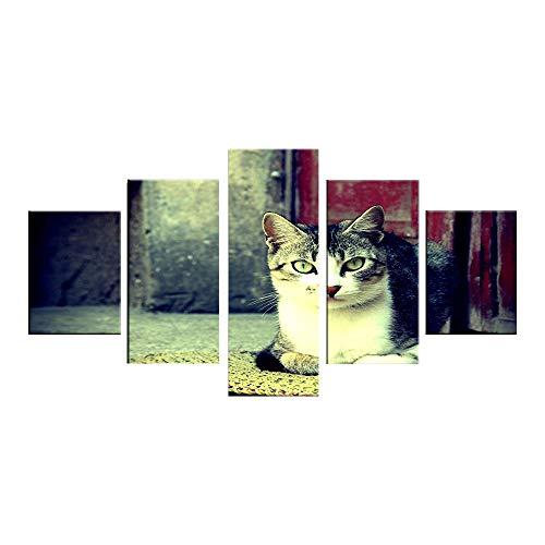 nzimmer, fünf Tierkatzenbezeichnungen, modernes Kinderzimmer, Wandmalerei mit Tintenstrahlkunstwerk (mit Rahmen) ()