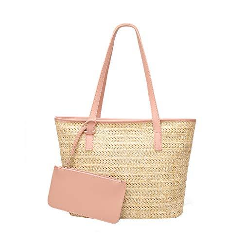NOTAG Sacs à Main Femme en Paille, Cabas Sac à Bandoulière Shopping avec Petite Pochette (Rose)