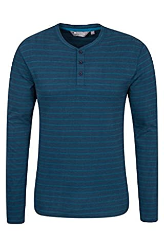 Mountain Warehouse Henley Mens Stripe Long Sleeve Top Navy Small