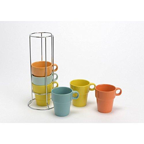 Coffret de 6 tasses Expresso couleurs avec le rack collection Korb