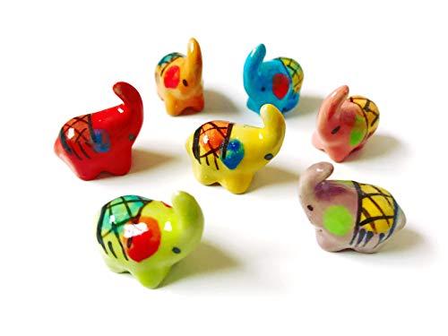 Tyga_Thai Markenset 4-TLG. Miniatur-Figur Elefant, Keramik, bemalt, dekorativ, Mehrfarbig (Miniatur-Elefanten) -