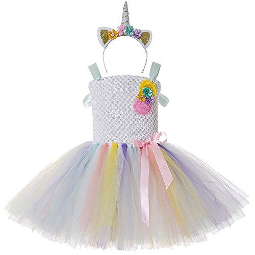 Ballon Grüne Kostüm - CIELARKO Einhorn Kleider für Mädchen mit Einhorn Stirnband Kostüm Zu Geburtstag Cosplay Blumen Prinzessin Kleidung