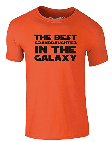 Brand88 - The Best Granddaughter in the Galaxy, Erwachsene Gedrucktes T-Shirt Orange/Schwarz