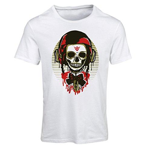 Maglietta Donna Un teschio di moda con il casco del motociclo Bianco Multicolore