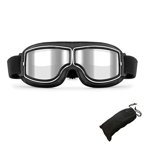 LEAGUE&CO Gafas de Moto Retro Vintage Gafas de Protección Gafas Pilot