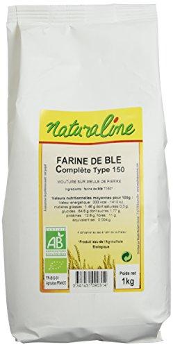 Moulin des Moines Farine de Blé Bio Complete Extraction 95% Type 150 Mouture Fine 1 kg - Lot de 5