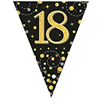 Hi Fashionz Black Gold Sparkling Fizz Birthday Party Holographic Bunting 11 Flags 3.9m 18th Ages