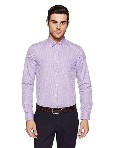 Excalibur EX Men's Solid Regular Fit Formal Shirt (276322828 Purple 42 FS)