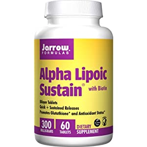 41UVC2Wa%2B5L. SS300  - Jarrow Formulas Alpha Lipoic Sustain, 300mg with Biotin - 60 Tabs, 60 Tablet