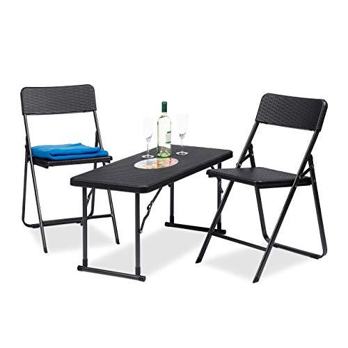 Relaxdays Gartenmöbel Set klappbar, 3 teilig, Polyrattan, Tisch höhenverstellbar, H x B x T: 74 x...