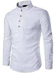 UJUNAOR Oktoberfest Männer Stehkragen Langarm Täglich Tops Bluse Baumwollmischung Solide Shirt