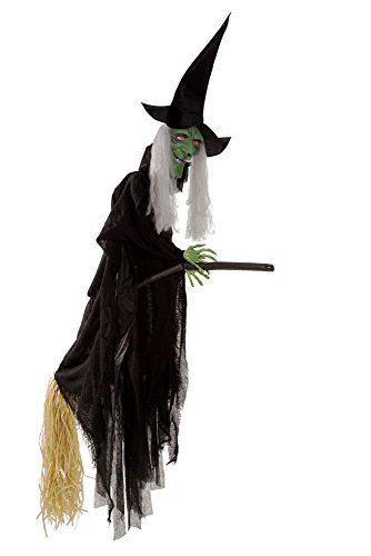 Halloween Party Deko Dekoration Hexe auf Besen mit Effekten