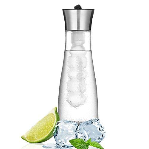 SHTC Kühlkaraffe & Cold Brew Coffee Maker > 1 Liter, einzigartiger Gewindeverschluss als Deckel, Glaskaraffe mit Deckel, Wasserkaraffe, Karaffe, Glas/Edelstahl, (inkl. Kühl- &Siebstab)