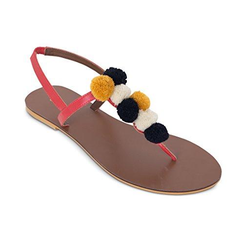 CHUMBAK Pom Pom Black Sandal-38