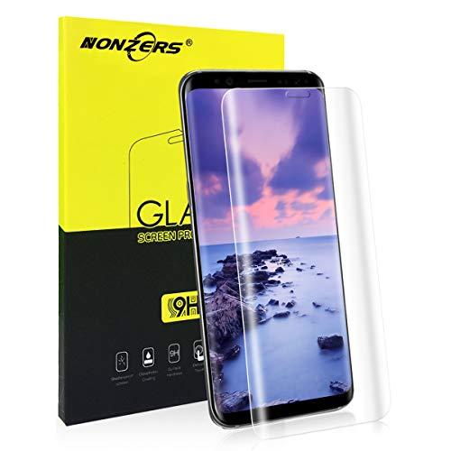 NONZERS Cristal Templado para Samsung Galaxy S8, [3D Cobertura Completa] Protector de Pantalla Vidrio Templado Transparente, [3D Borde Redondo] [9H Dureza] Fácil Instalación y Sin Burbuja