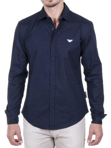 Emporio Armani -  Camicia Casual  - zip - Uomo blu XX-Large