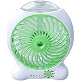 BlingBelle Mini USB Rechargeable Battery Operated Portable Table Air Conditioner Cooler Fan with Spray Function Device (Green)