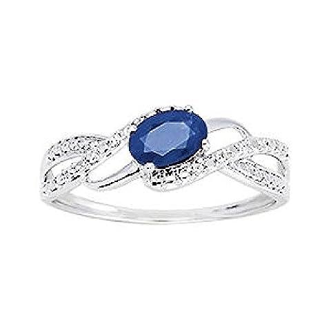 So Chic Bijoux © Bague Anneau Femme Vagues Solitaire Saphir Bleu & Diamants 0,04 ct Or Blanc 375/000 (9 carats) - Taille