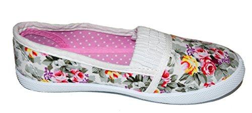tmy 29221enfants Chaussures basses/Ballerine, Couleur Blanc avec fleurs Print Taille: 24–35 Multicolore - Blanc