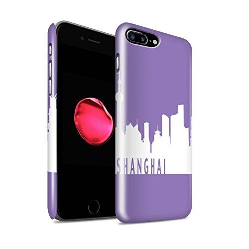 STUFF4 Glanz Snap-On Hülle / Case für Apple iPhone 8 Plus / London/Orange Muster / Stadt Skyline Kollektion Shanghai/Lila