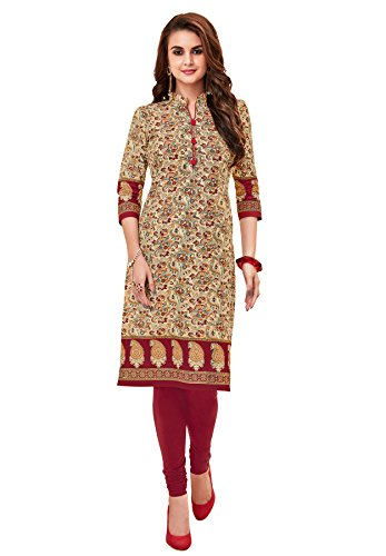 Salwar Studio Women's Beige & Maroon Cotton Printed Unstitched Kurti Fabric (only Kurti Fabric)-PRANJUL-PANKHURI-408  available at amazon for Rs.450
