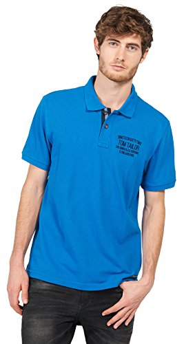 TOM TAILOR Herren Poloshirt Polo with Small Chest Artwork Deep Water Blue