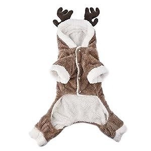 Yunt Hundanzug Hundebekleidung Elch Kostüm Weihnachten Kleidung aus Korallensamtgewebe mit Kaputze Versteckte Schnalle dog cosplay clothes für kleine und mittelgroße Hunde XS/S/M/L/XL