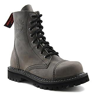 ANGRY ITCH 8-Loch Gothic Punk Army Ranger Armee Vintage Grau Leder Stiefel mit Stahlkappe 36-48 - Made in EU!, EU-Größe:EU-42