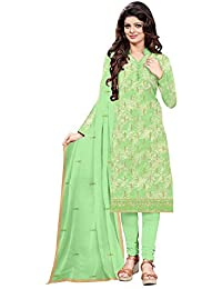 ebfd294458 Udaan Women's Printed Satin Embroidered Top with Matching Nazneen Dupatta  and Cotton Bottom Unstitched Dress Material