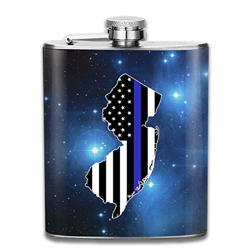 Personalisierte Home Jersey (EJUNLEKEJI Flachmann aus Edelstahl,Thin Blue Line New Jersey Hip Flask Pocket Stainless Steel Flask 7 Oz Home Kitchen Drink Flasks)