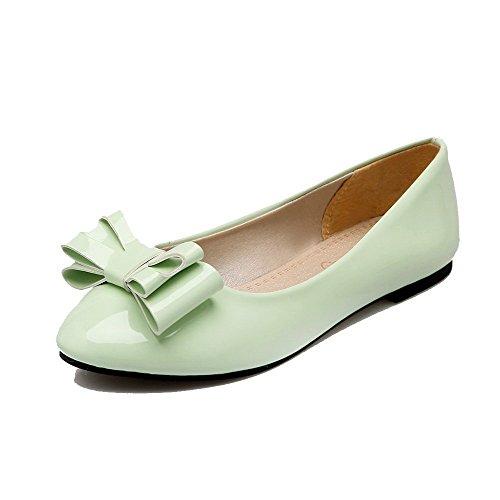 Allhqfashion donna tirare tacco basso luccichio puro punta chiusa ballet-flats, fbuidc005243, verde, 33
