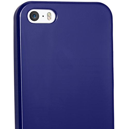 igadgitz U1178 Custodia TPU per Apple iPhone SE, 5 & 5S Case Cover con Pellicola - Trasparente Solido Blu