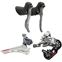 Road Bike Groupset, 2 * 11 Speeds Empire Road Bike Shifters with Shift Cable,Double Speed Lever Brake Bicycle Derailleur Groupset Compatible for Shimano and Sram Road Bike