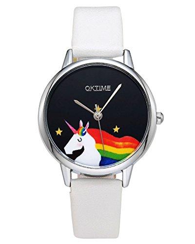 rbe Damen Armbanduhr Cartoon Einhorn Design Kleid Uhren Wasserdicht PU Lederband Silber Quarz Uhr,Weiß (Stellen Simples Halloween)