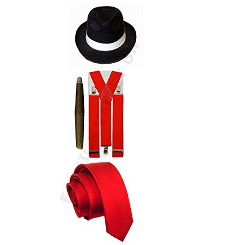 Maskenkostüm für Erwachsene, Gangster Pimp, Hut, Hosenträger, Krawatte, Zigarre, 1920er Jahre, (Dress Fancy Pimp)