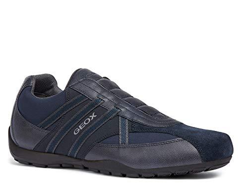 Geox Herren Slip-On Sneaker RAVEX, Männer Sneaker,Halbschuh,Sportschuh,Slipper,Gummizug,atmungsaktiv,BLAU,39 EU / 6 UK Blue Suede Sandalen