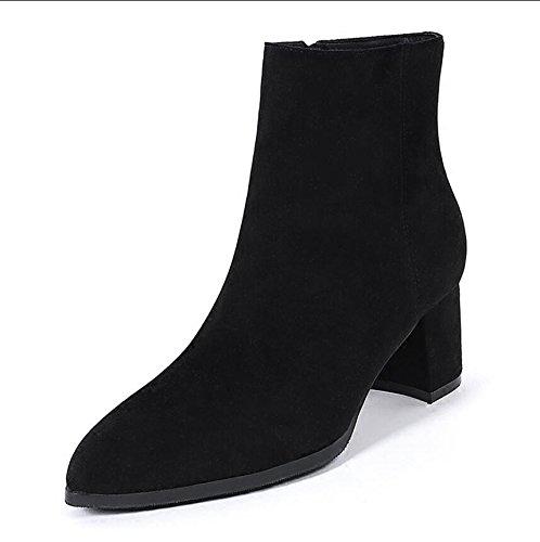 Seite Spitze Knie Stiefel (KHSKX-Das Neue Schwarz 5 Cm Dick Und Kurze Stiefel Damen Tipp Seite Zip Mit Chelsea Boots Und Vielseitige Kurze Barrel Stiefel 39)