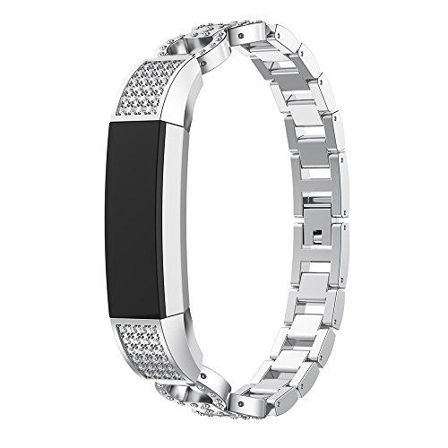 happytop Armband Edelstahl Armband Handgelenk Gurt Uhren Ersatz für Fitbit Alta Smart Watch S silber
