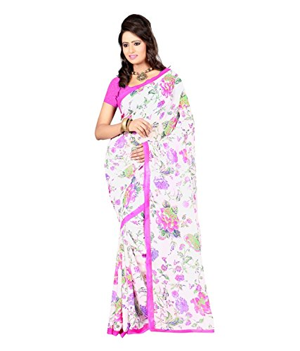 Fabdeal Women Georgette Printed Saree with Blouse Piece  available at amazon for Rs.429