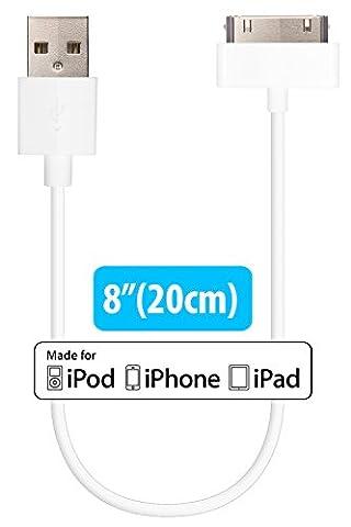 HomeSpot [Apple MFi Lizenziert & Zertifiziert] - 30 Pin auf USB Kabel, USB auf 30 Polig Dock Connector, Ladekabel, Sync-Kabel, Datenkabel für iPhone 4, iPhone 4S, iPad 1/2/3, iPod touch, iPod nano,IPhone Docking Station, Top Qualität (Weiß, 20 cm)