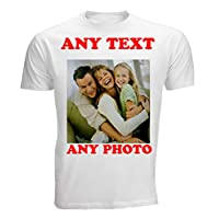 "4sold Create Your Own Custom Personalised Mens Kids T Shirt Any Photo, Any Text, Approx Up to 14"" x 16"" Print Size, White T Shirt (White, Unisex L)"