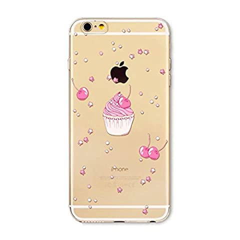 Housse Etui Liquid TPU couverture iPhone 6 6S 4.7 silicone Coquille Case Clear anti-choc de protection Transparente Bumper-Style Flexible Coque JINCHANGWU-- Pink Cherry ice cream stars crème glacée étoile