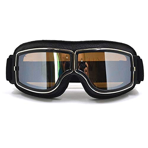 ZhenZhunaicA Motocross-Brille Moto Bike Brille Motorradbrille Motocross-Brille Mit Brillentasche BK Rahmen Silber Linse