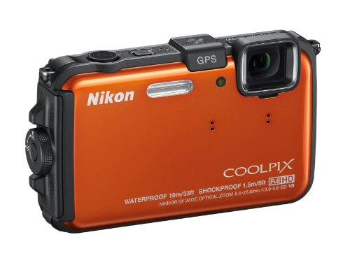 Nikon Coolpix AW100 Outdoor-Digitalkamera (16 Megapixel, 5-fach opt. Zoom, 7,5 cm (3 Zoll) Display, bildstabilisiert, wasserdicht bis 10m, kälteresistent, GPS) orange