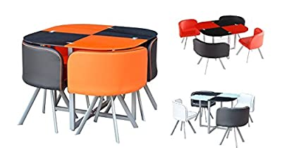 Palette Space Saver New Retro 2 Colour, Orange Red White Black Glass Dining Table With 4 Chairs - inexpensive UK light shop.