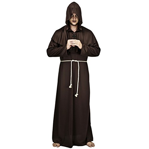 ttelalter Mönche Kostüm Classic Friar Wizard Cosplay Kostüm Set Halloween Kostüme Weihnachten Geburtstagsgeschenk für Freunde Größe M (Kaffee) ()
